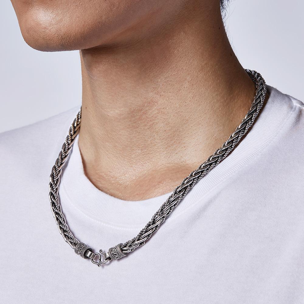AS65 經典麻花-粗線刻紋個性項鍊