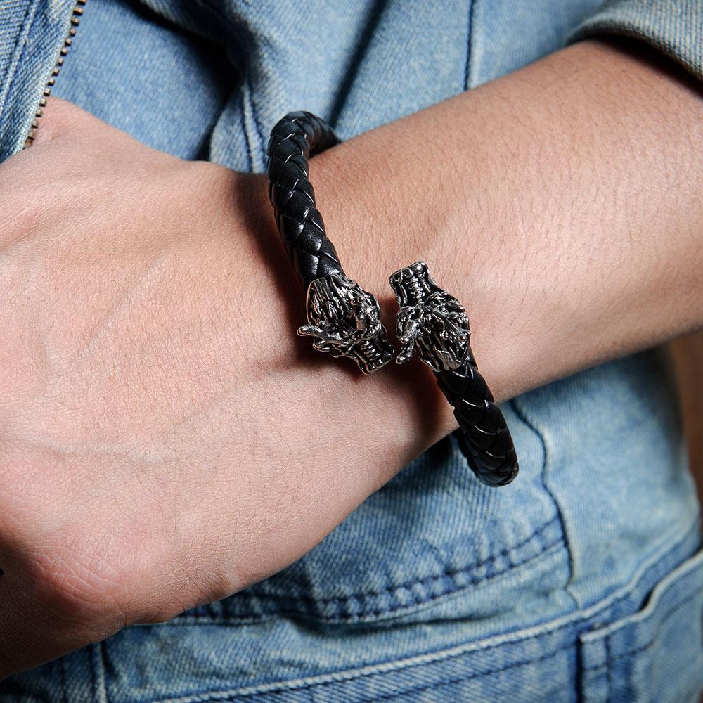 C100 潮流帥氣雲龍造型編織手環