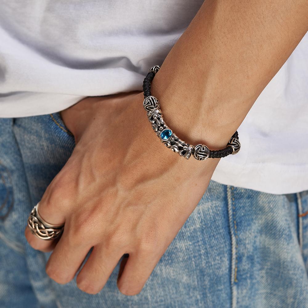 CS123 復古幾何珠狀真皮手環