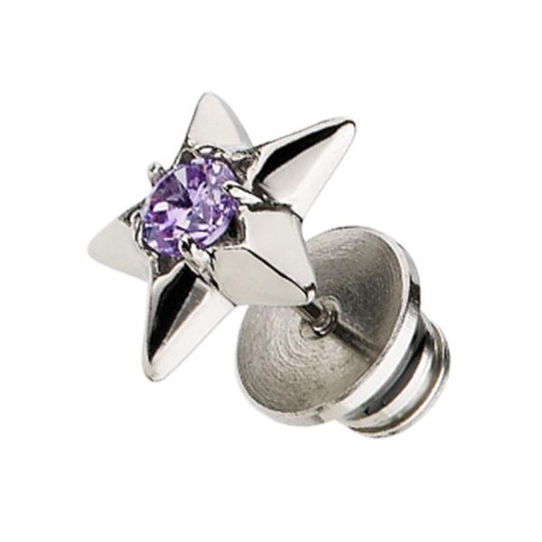 EA161 星形鑲圓形鋯石雙面耳環/單隻販售