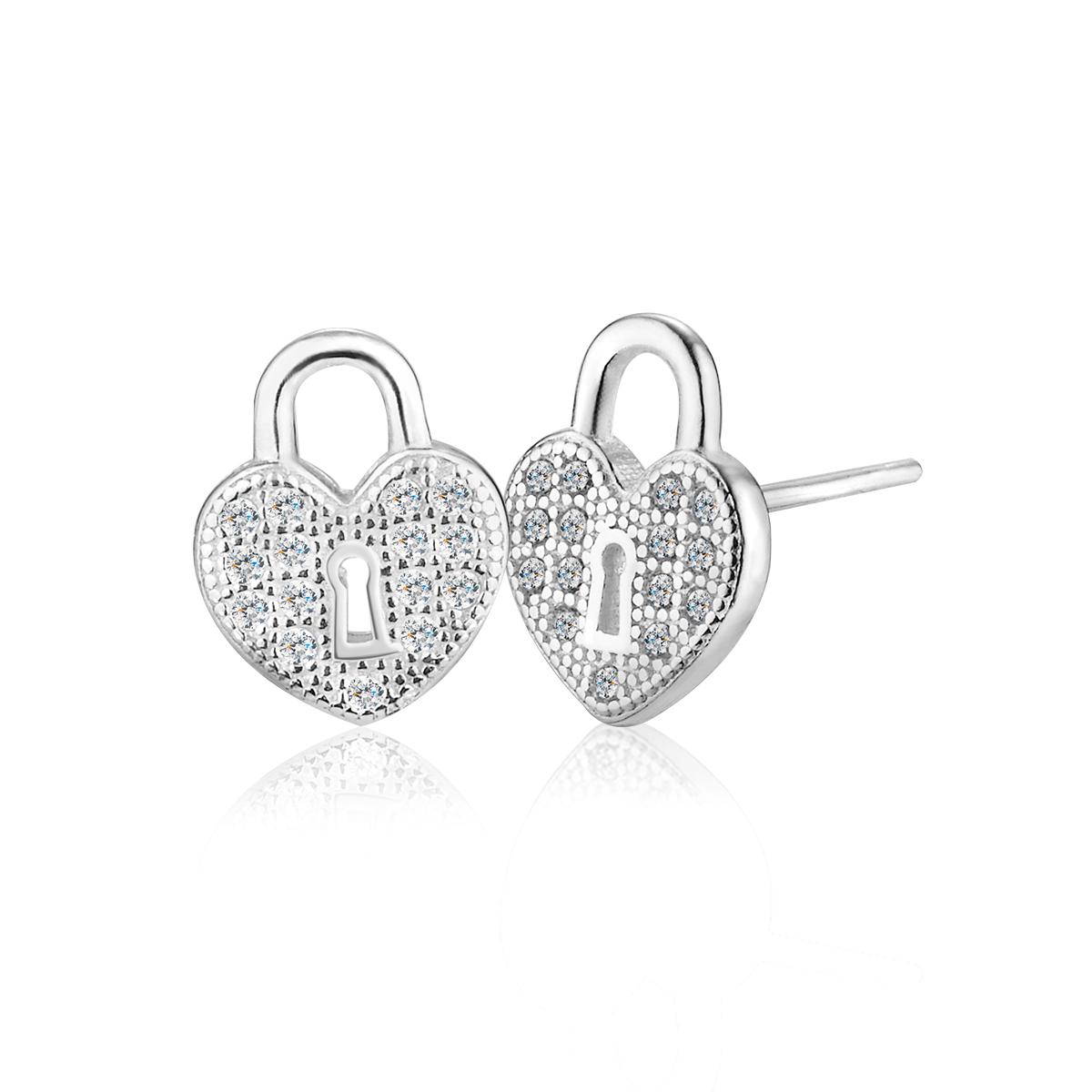 ED140 愛心鑰匙鎖耳環/一對販售