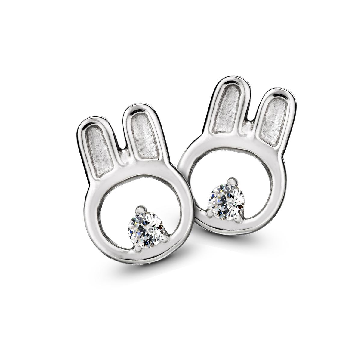ED61 可愛比菲兔動物姊妹耳環/一對販售