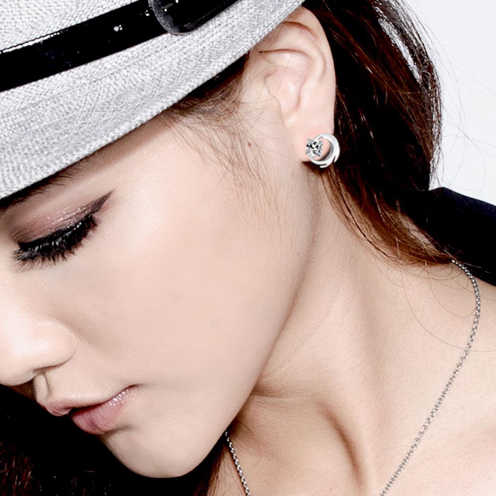 ED66 炫風個性方鋯耳環/一對販售