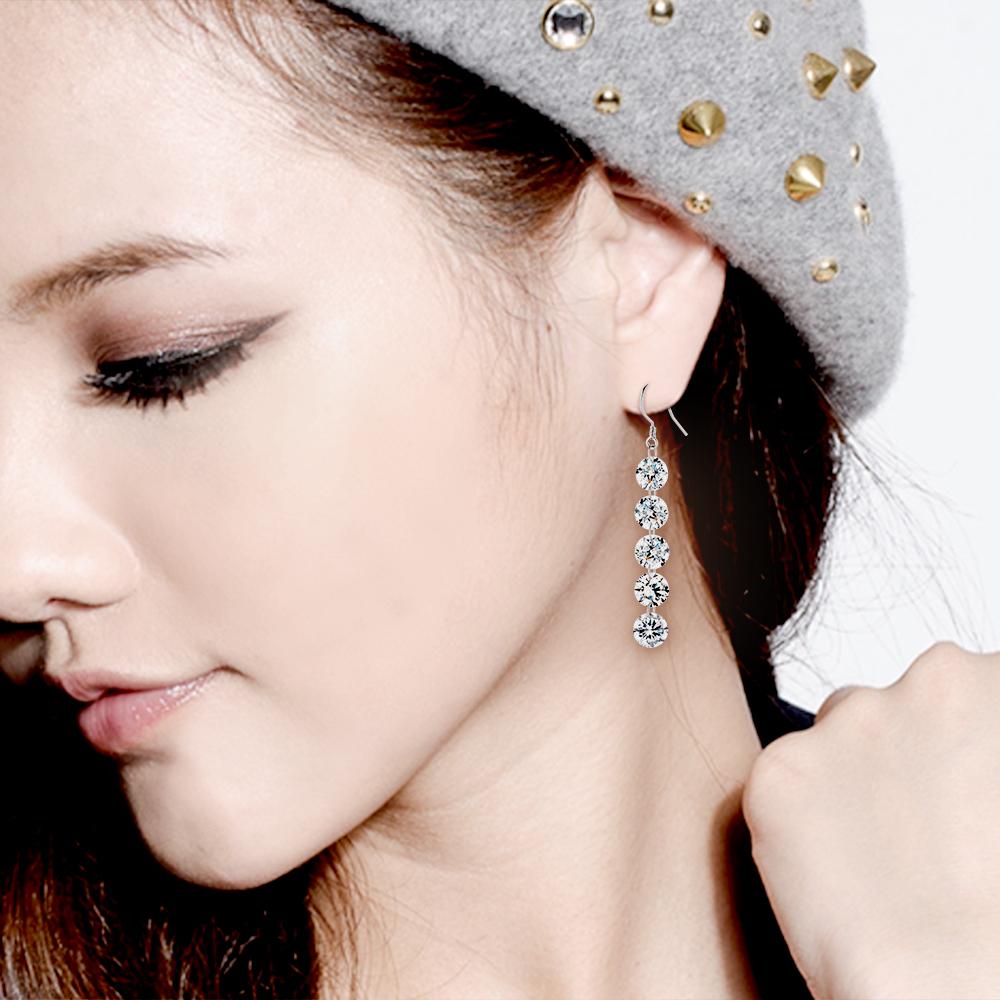 ED68 星星之戀垂鑽設計耳環/一對販售