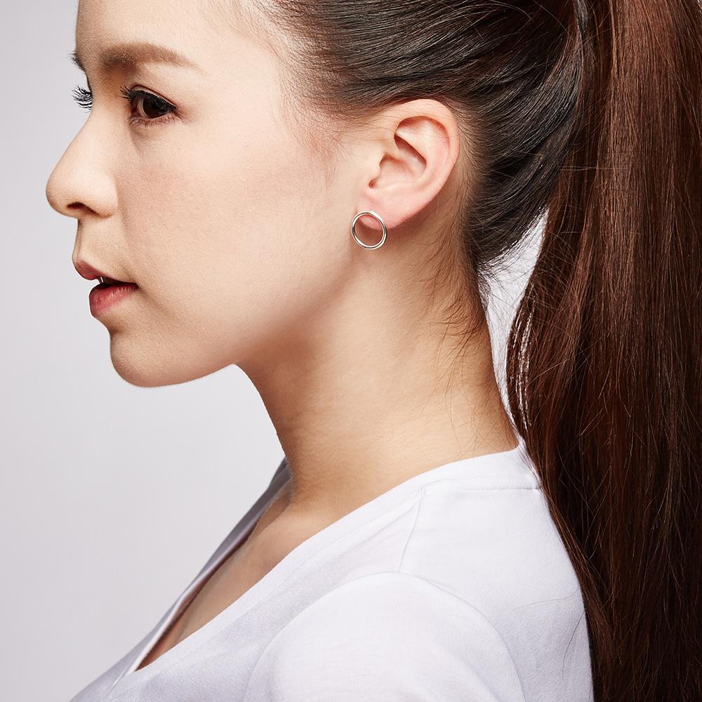 ES90 簡約哲學-姊妹款時光之洞簡約耳環/一對販售