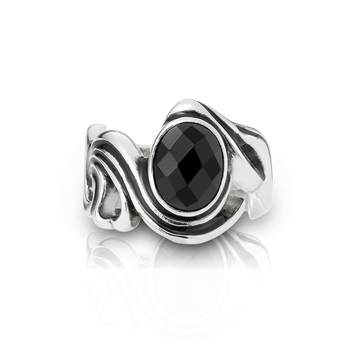 K121 復古菱格紋黑瑪瑙戒指