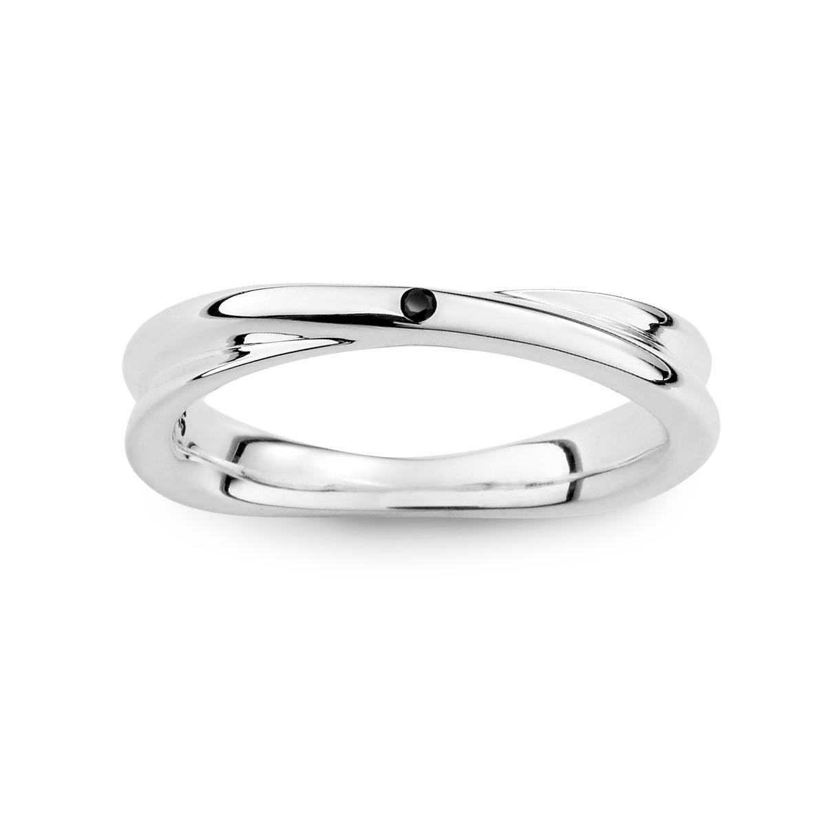 KSM117 經典素面單鑽交叉純銀戒指