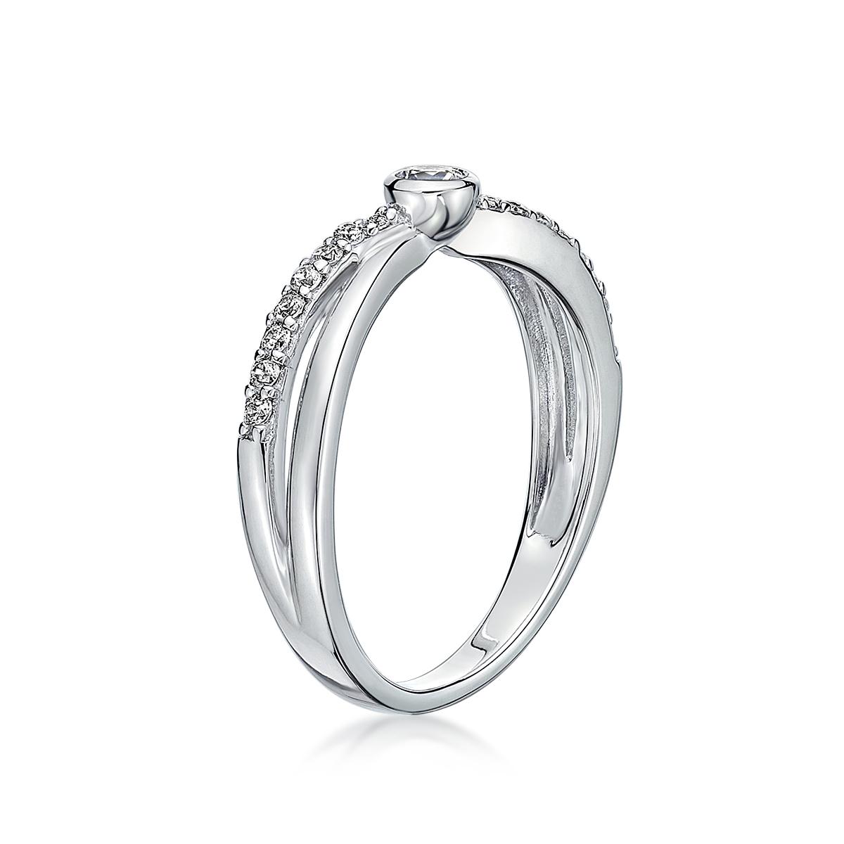KSW204 璀璨軌跡-交叉雙線奢華戒指