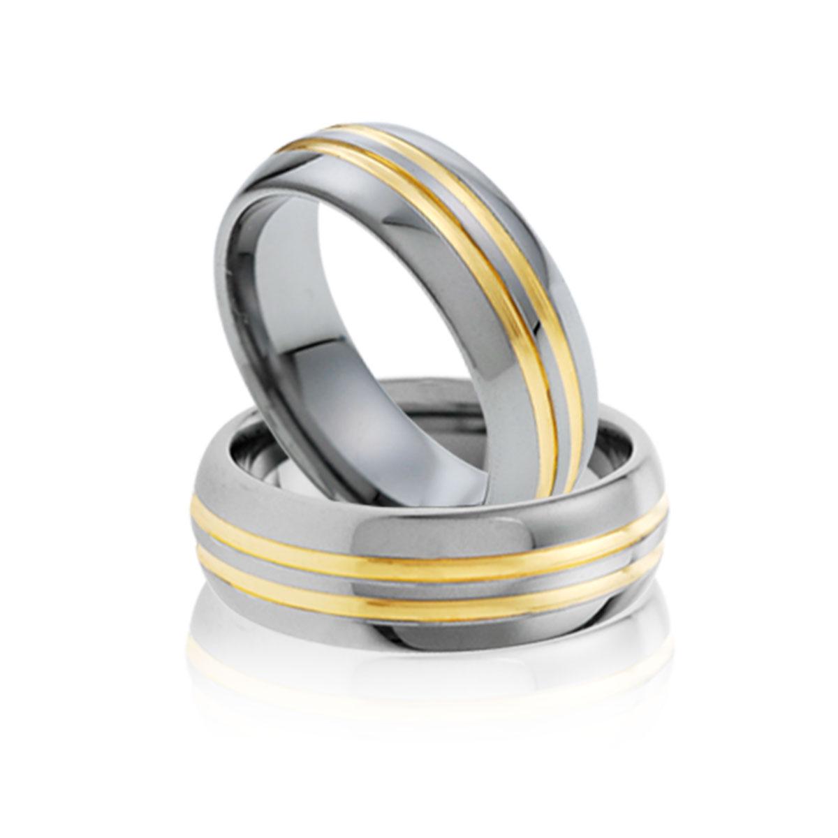 KU2 經典金色雙線戒指