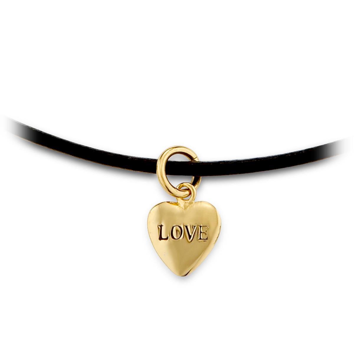 A466 LOVE愛心造型皮繩頸鍊