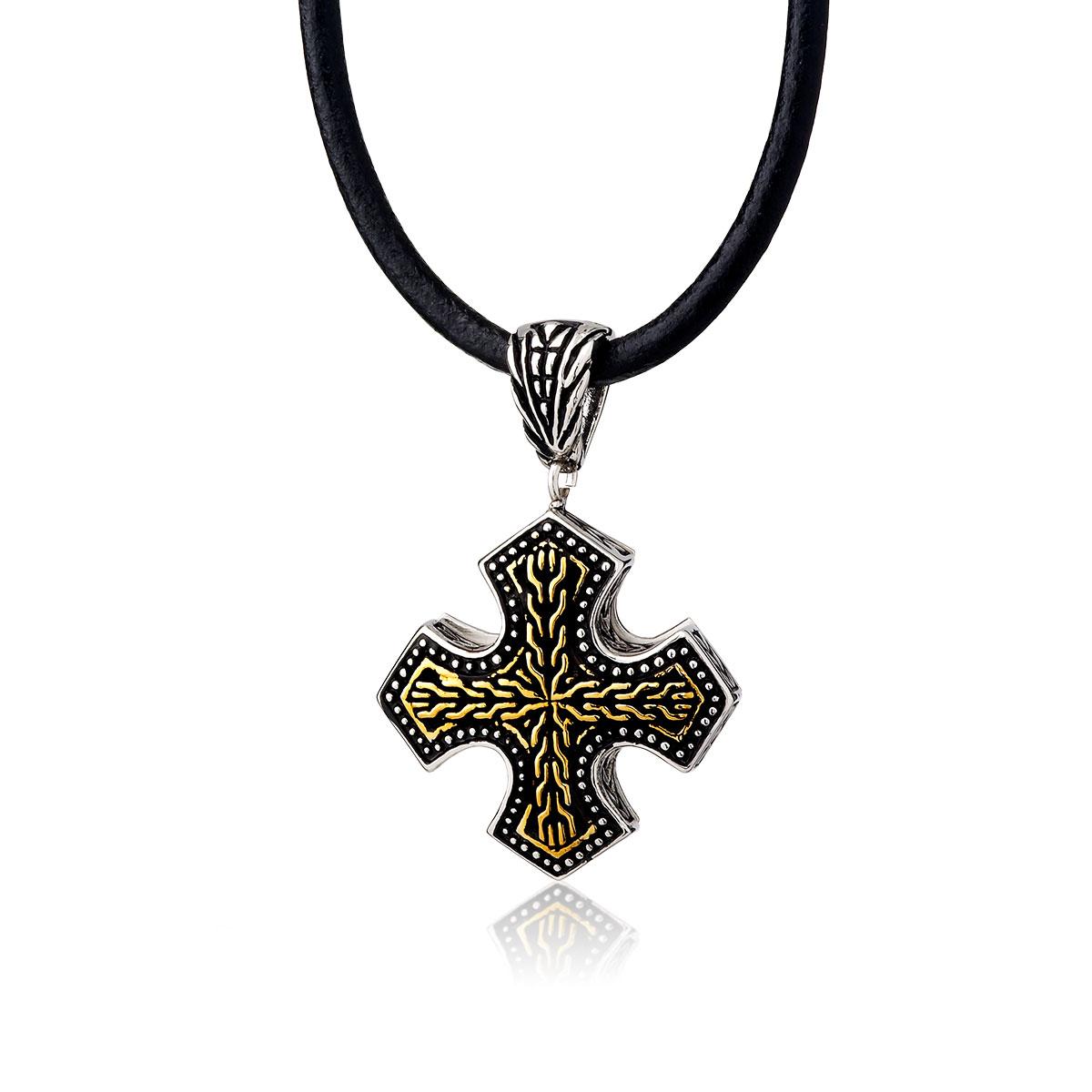 AE68 雕花十字個性項鍊