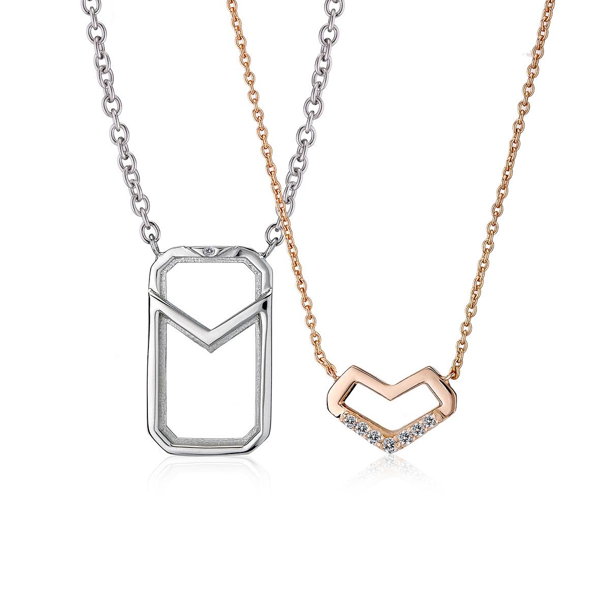 ASH133 寄心幾何簍空拼圖純銀對鍊