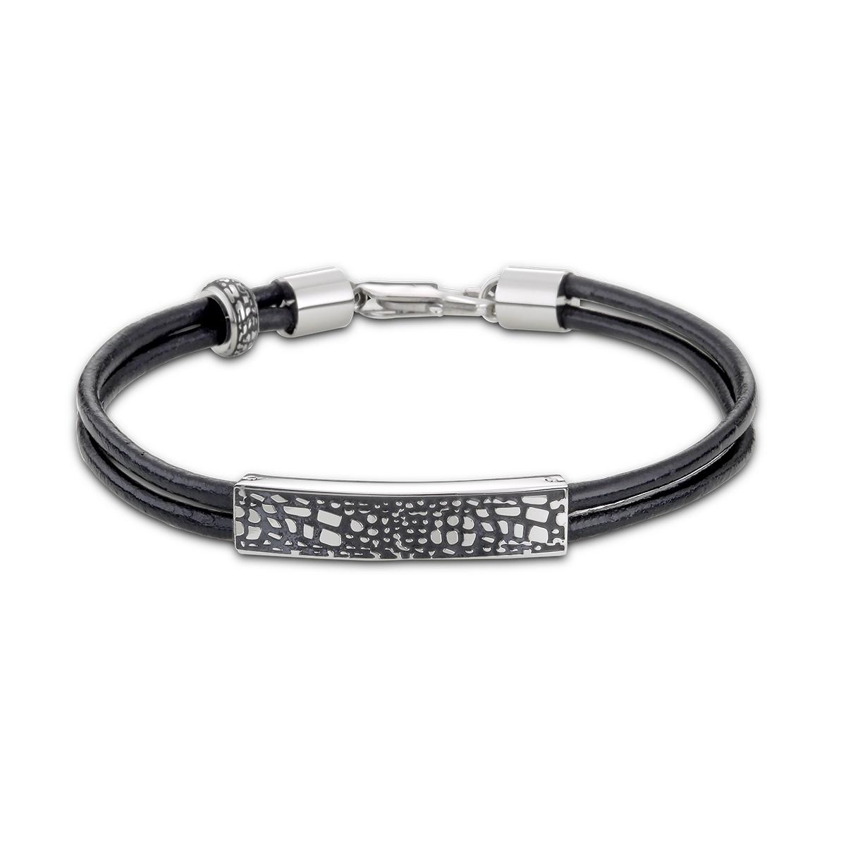 CIM175 黑色網狀花紋真皮手環