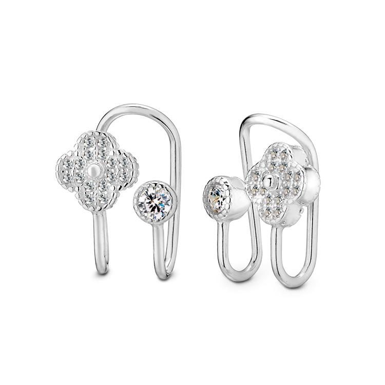 ED123 晶鑽花語夾式耳環/一對販售
