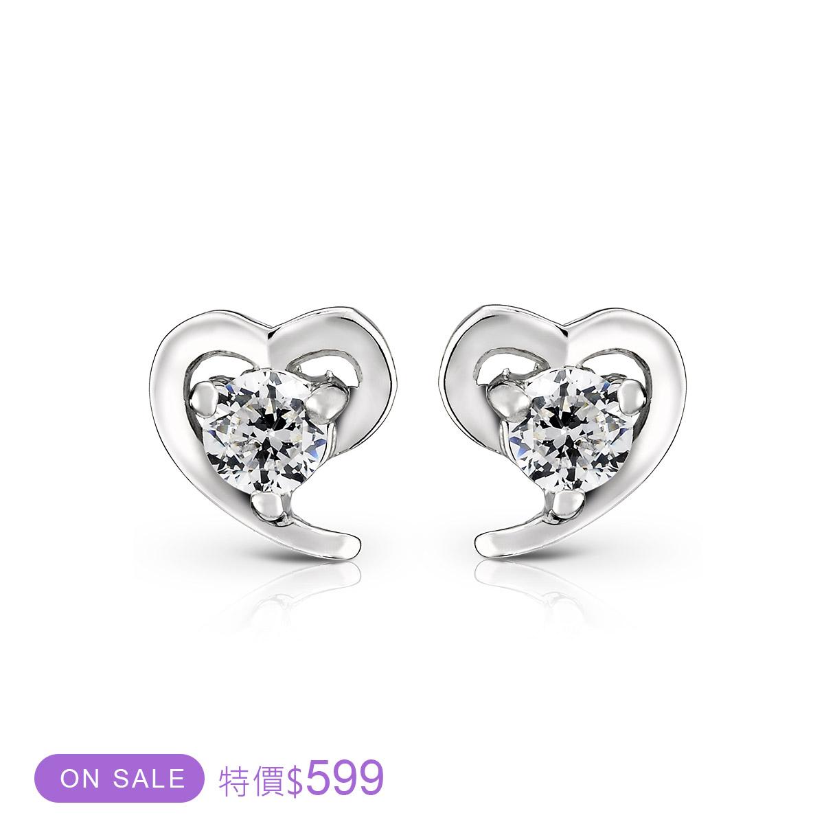 ED26 公主戀曲可愛心型耳環/一對販售