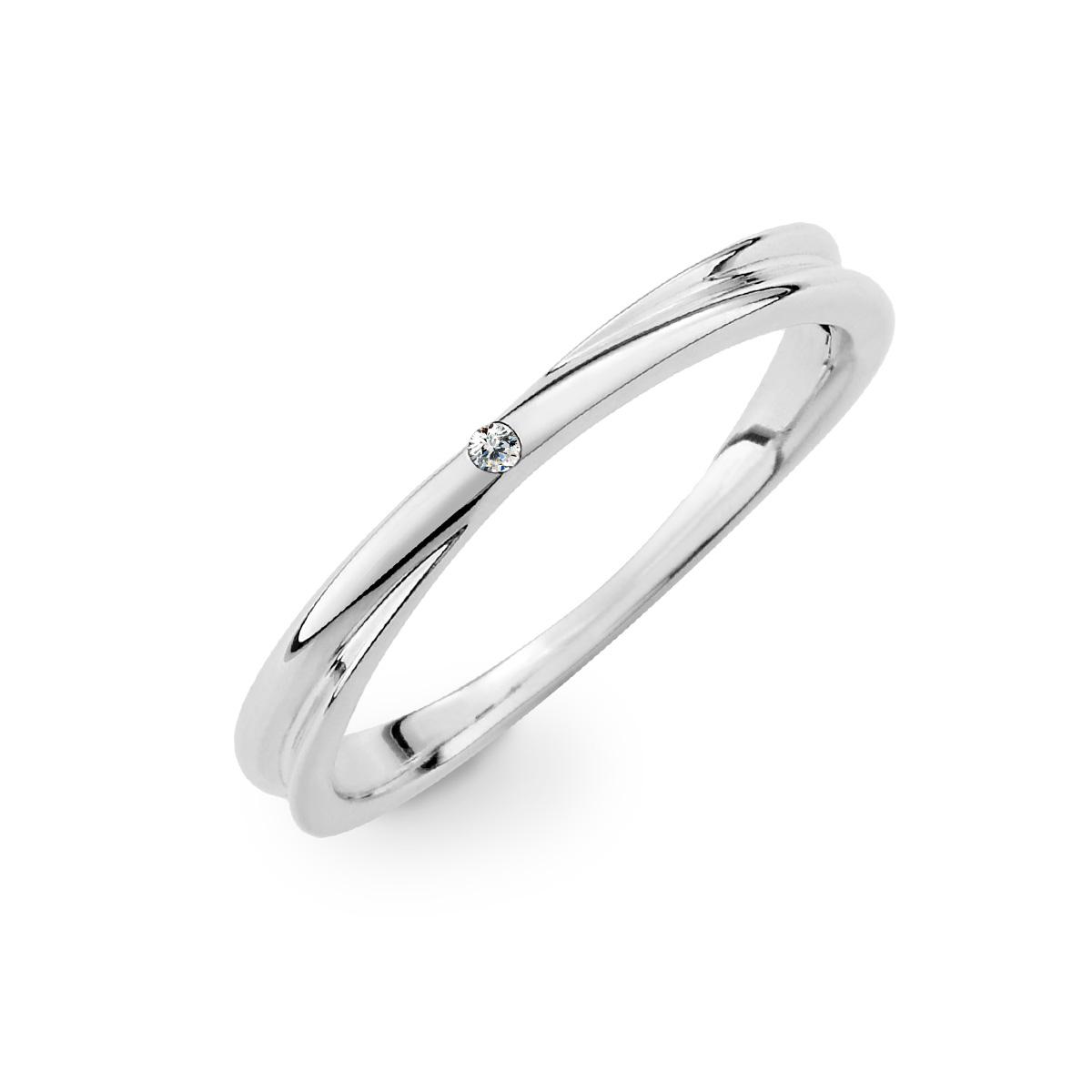 KSW337 經典素面單鑽交叉純銀戒指
