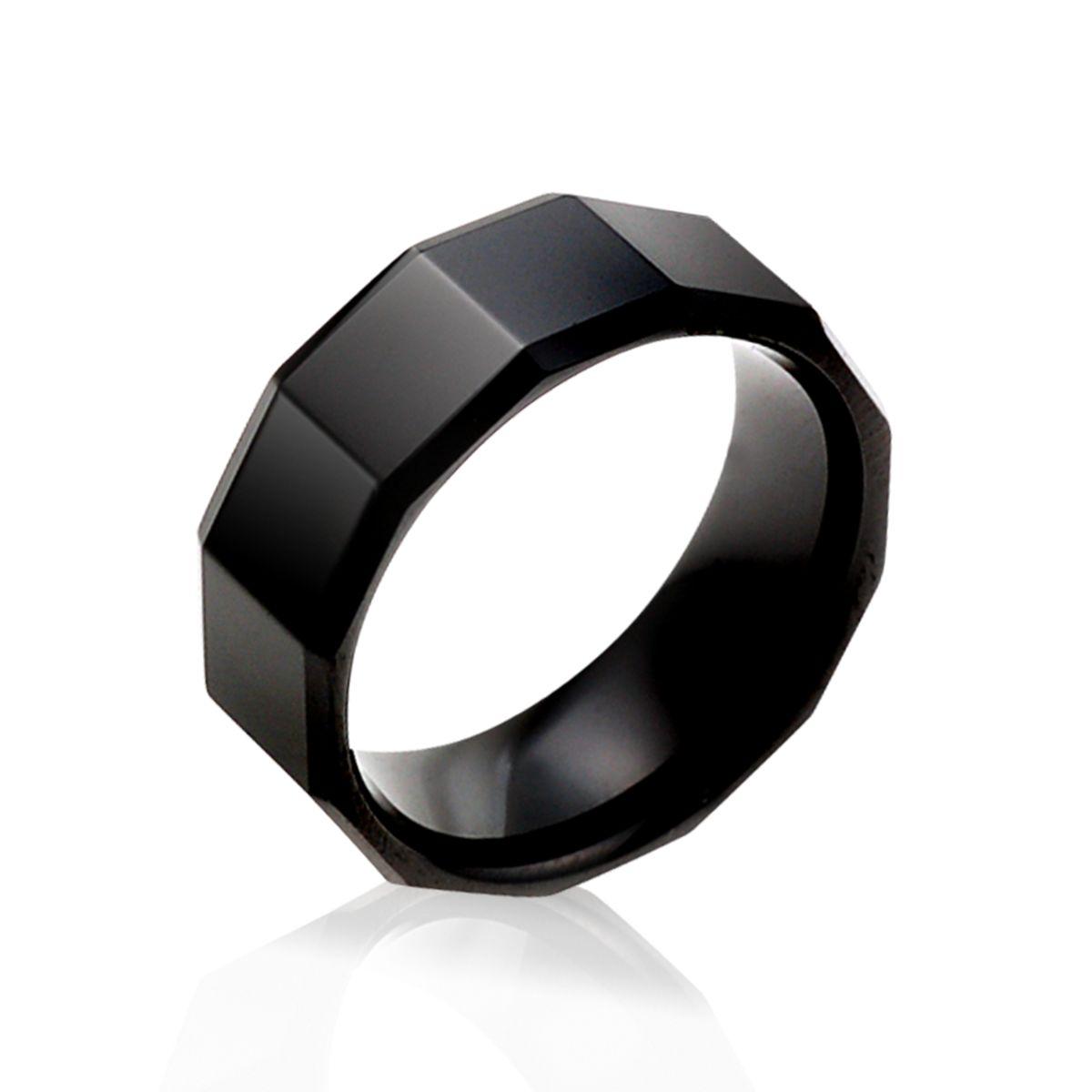KT18 經典黑色迷幻寬版戒指