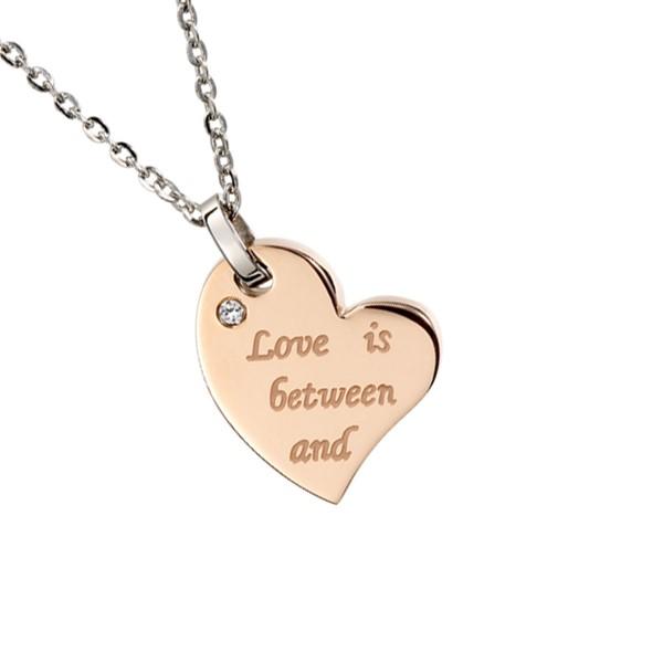 相愛的愛心組合式 西德鋼 女款情侶紀念項鍊/對鍊