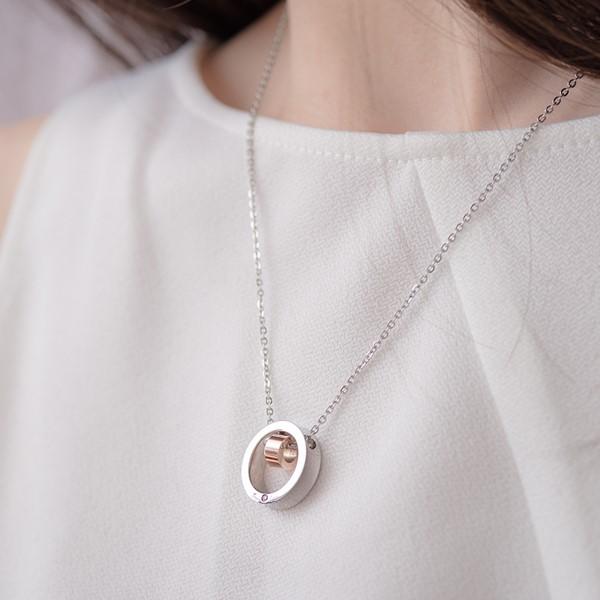 時尚真愛簡約 西德鋼 女款情侶紀念項鍊/對鍊
