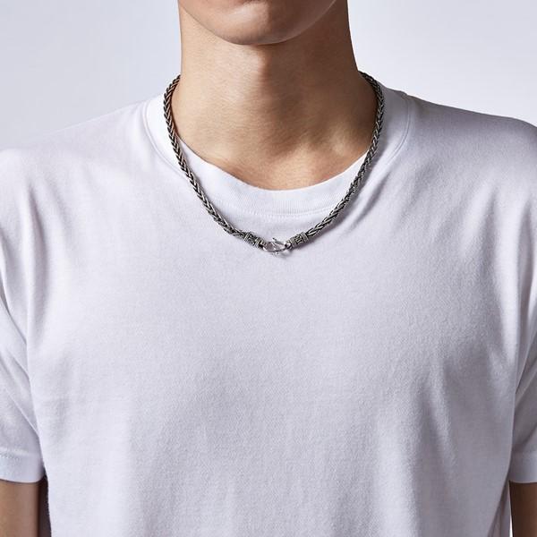 細線刻紋個性 純銀 男款項鍊飾品