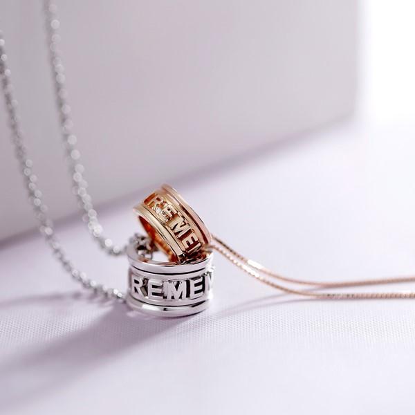 雋刻的記憶純銀情侶對鍊/一對販售 轉動深藏在內心的深刻記憶, 轉換屬於兩人的獨特魅力