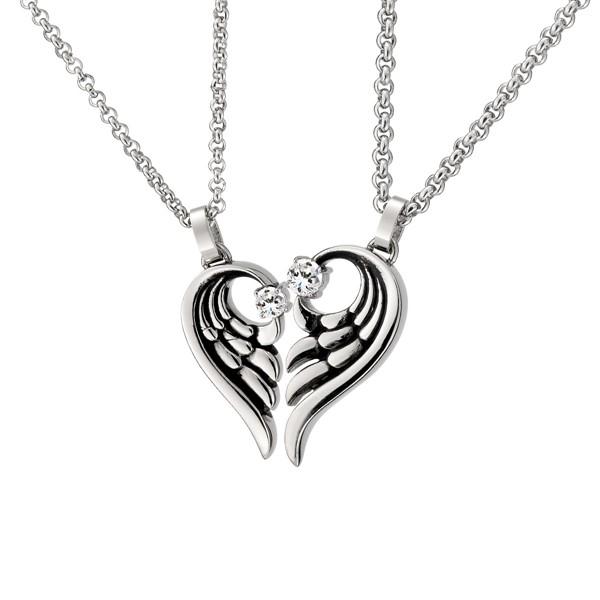 愛之翼單鑽 純銀 情侶紀念對鍊/項鍊