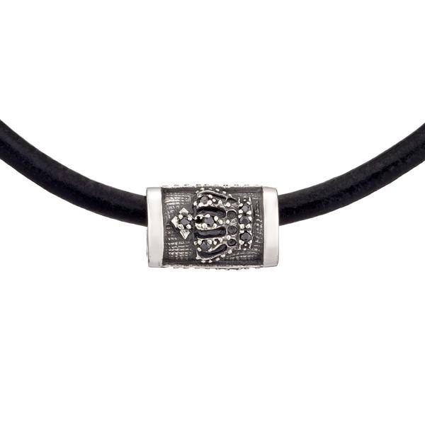 率性皇冠造型真皮硫化 純銀 男款項鍊飾品