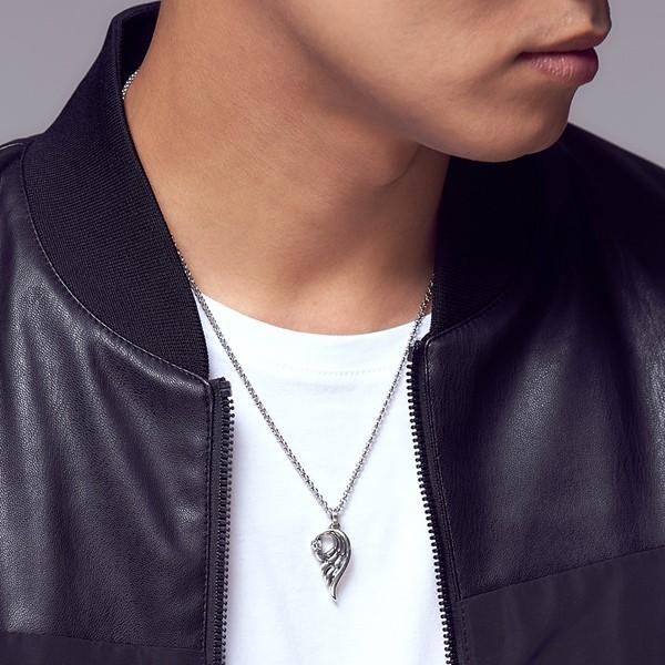 愛之翼單鑽 純銀 男款項鍊飾品