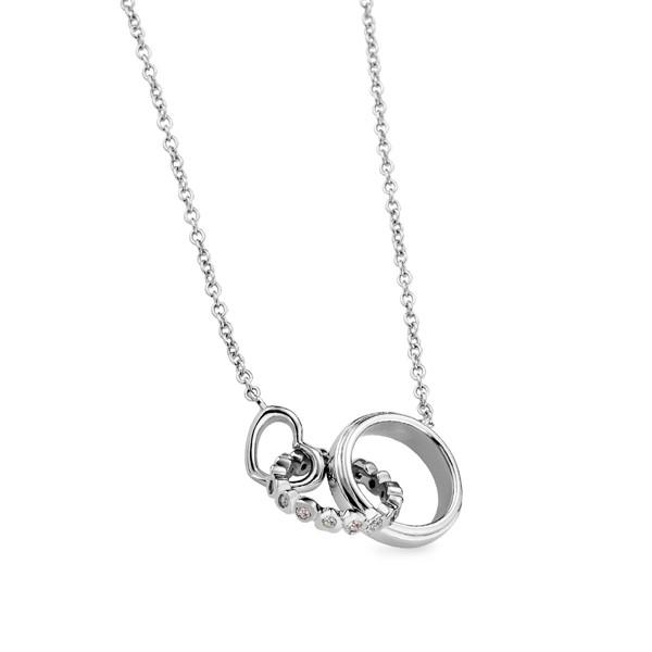 圍繞幸福愛情 純銀 女款情侶紀念項鍊/對鍊