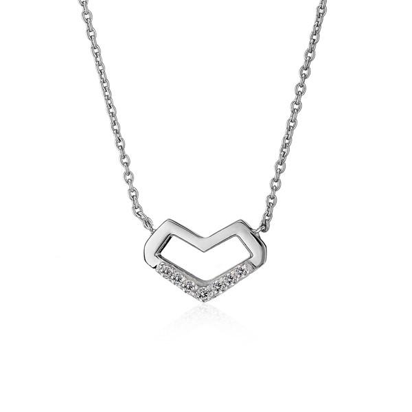 寄心幾何鏤空拼圖純銀項鍊-女