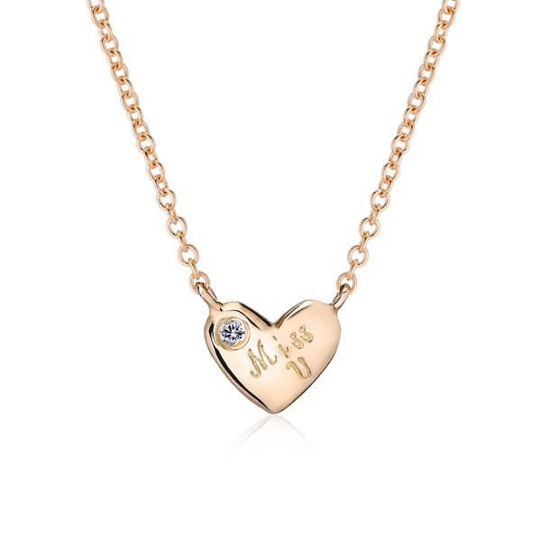 心中有愛純銀項鍊-女