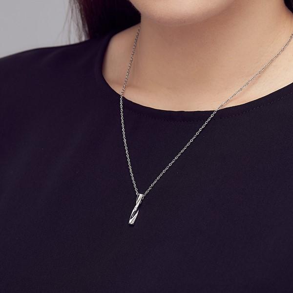 扭轉流線造型 純銀 女款情侶紀念項鍊/對鍊