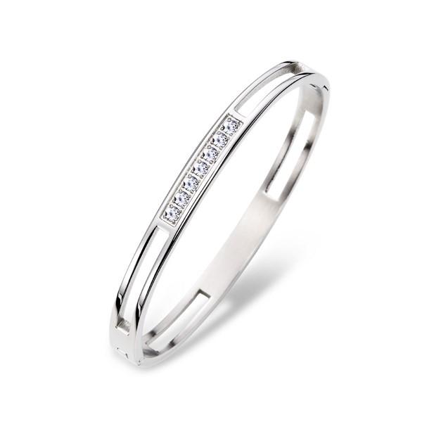 銀色幻想氣質鑲鑽手環