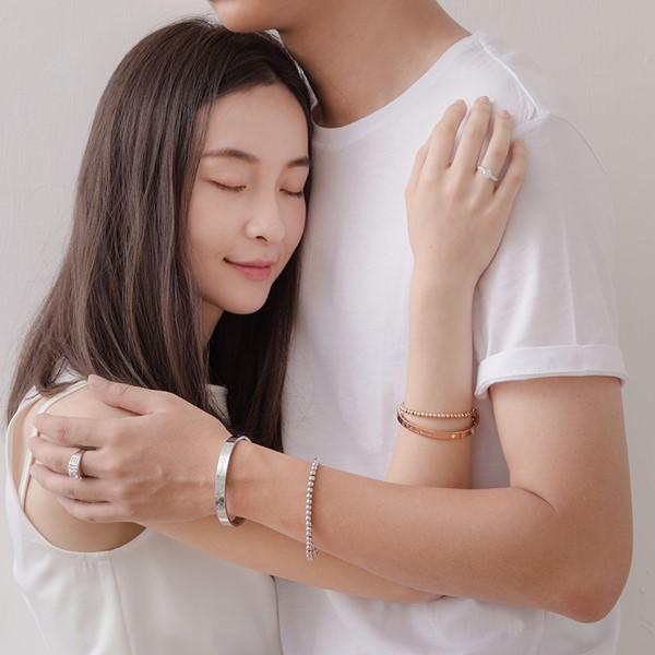 愛一生鋯石鍊環組 西德鋼 女款情侶紀念手環/鍊