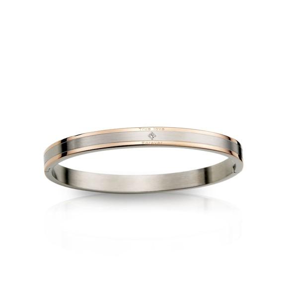 真愛典雅方型單鑽手環 西德鋼 女款情侶紀念手環/鍊