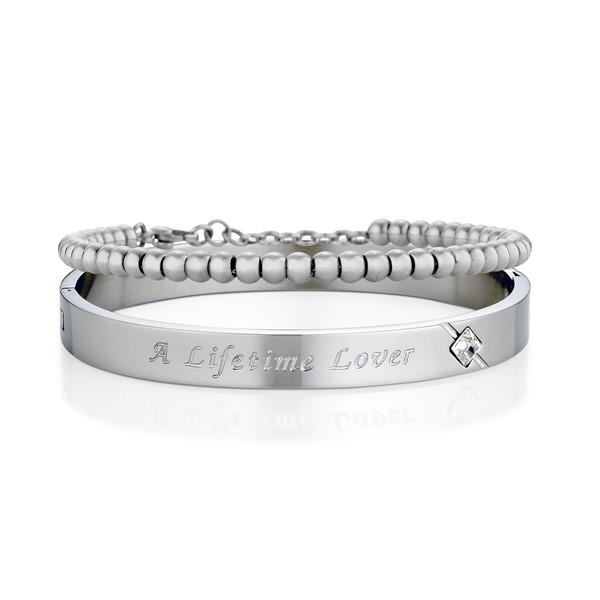 愛一生鋯石鍊環組 西德鋼 男款情侶紀念手環/鍊