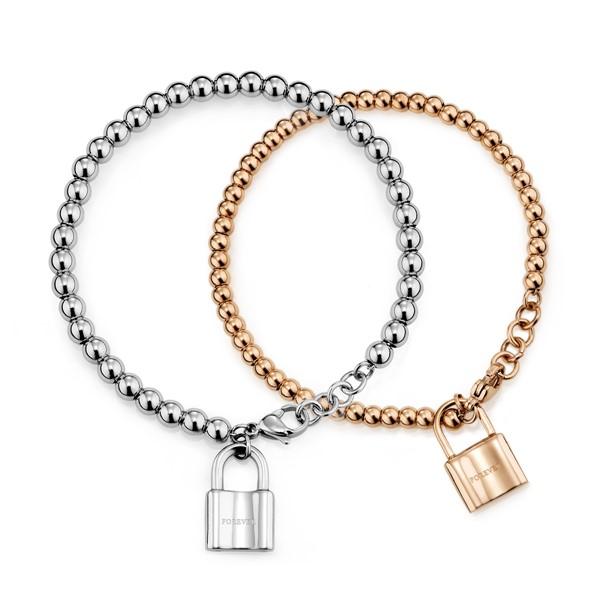點滴意象-心鎖串珠 刻字西德鋼 情侶紀念手環/手鍊