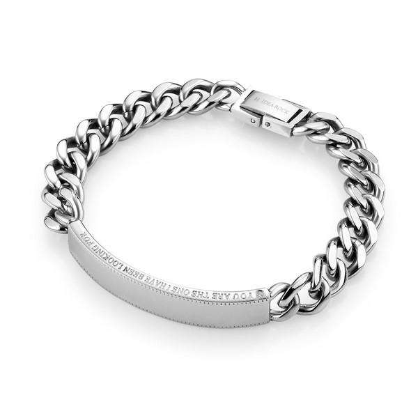 愛你直到世界盡頭 西德鋼 男款情侶紀念手環/鍊