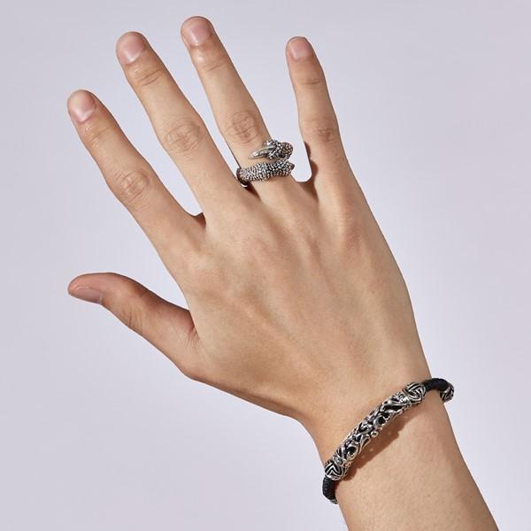 縷空雕紋真皮 純銀 男款手環/手鍊飾品