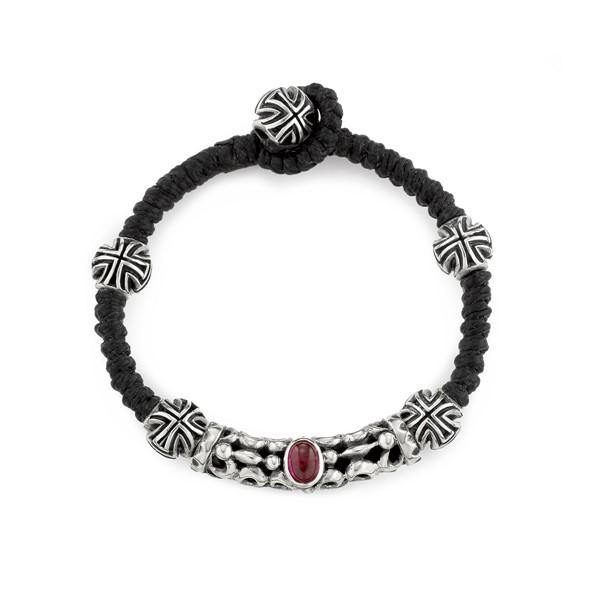 復古幾何珠狀真皮手環