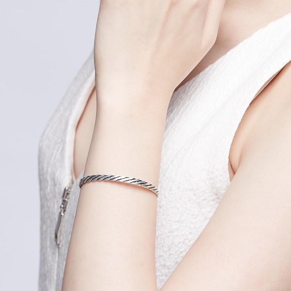細線扭轉造型活圍 純銀 男款手環/手鍊飾品