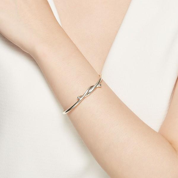 經典扭轉活圍簡約 純銀 女款手環/手鍊飾品