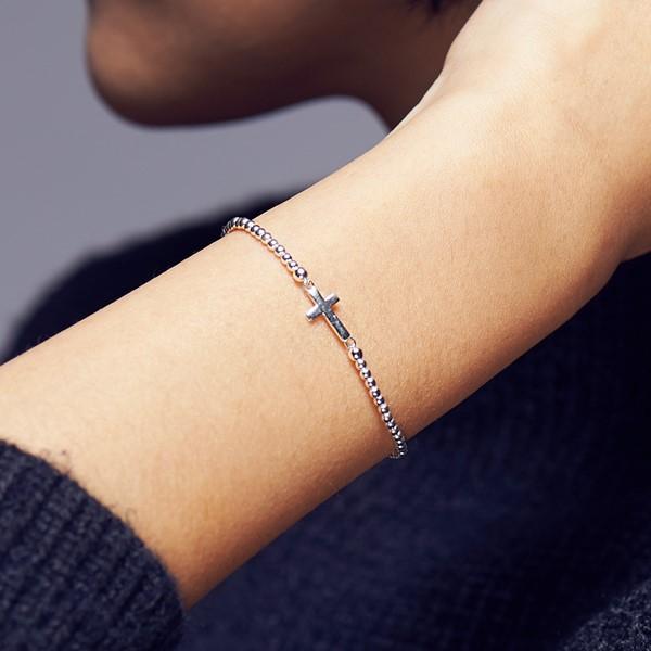祈禱的十字架串珠 純銀 女款手環/手鍊飾品