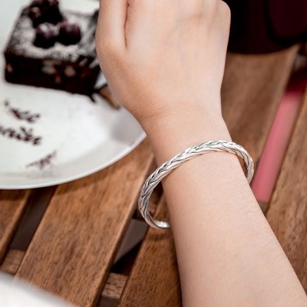 編織紋路純銀活圍手環