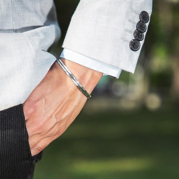 簡約立體感純銀活圍手環