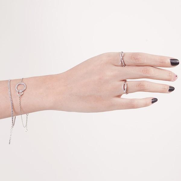 雙圓無限奢華 純銀 女款手環/手鍊飾品