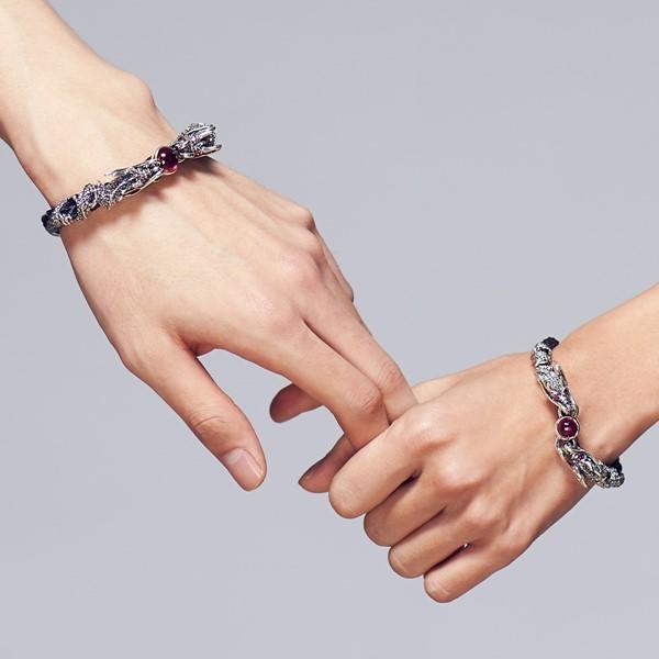 雙龍爭艷硫化真皮 純銀 情侶紀念手環/手鍊