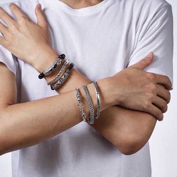 個性扭繩造型硫化 純銀 男款手環/手鍊飾品