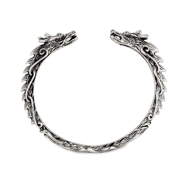 雙龍爭豔個性硫化 純銀 男款手環/手鍊飾品