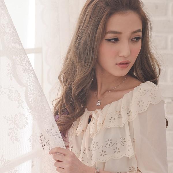 氣質女孩愛心緞帶項鍊